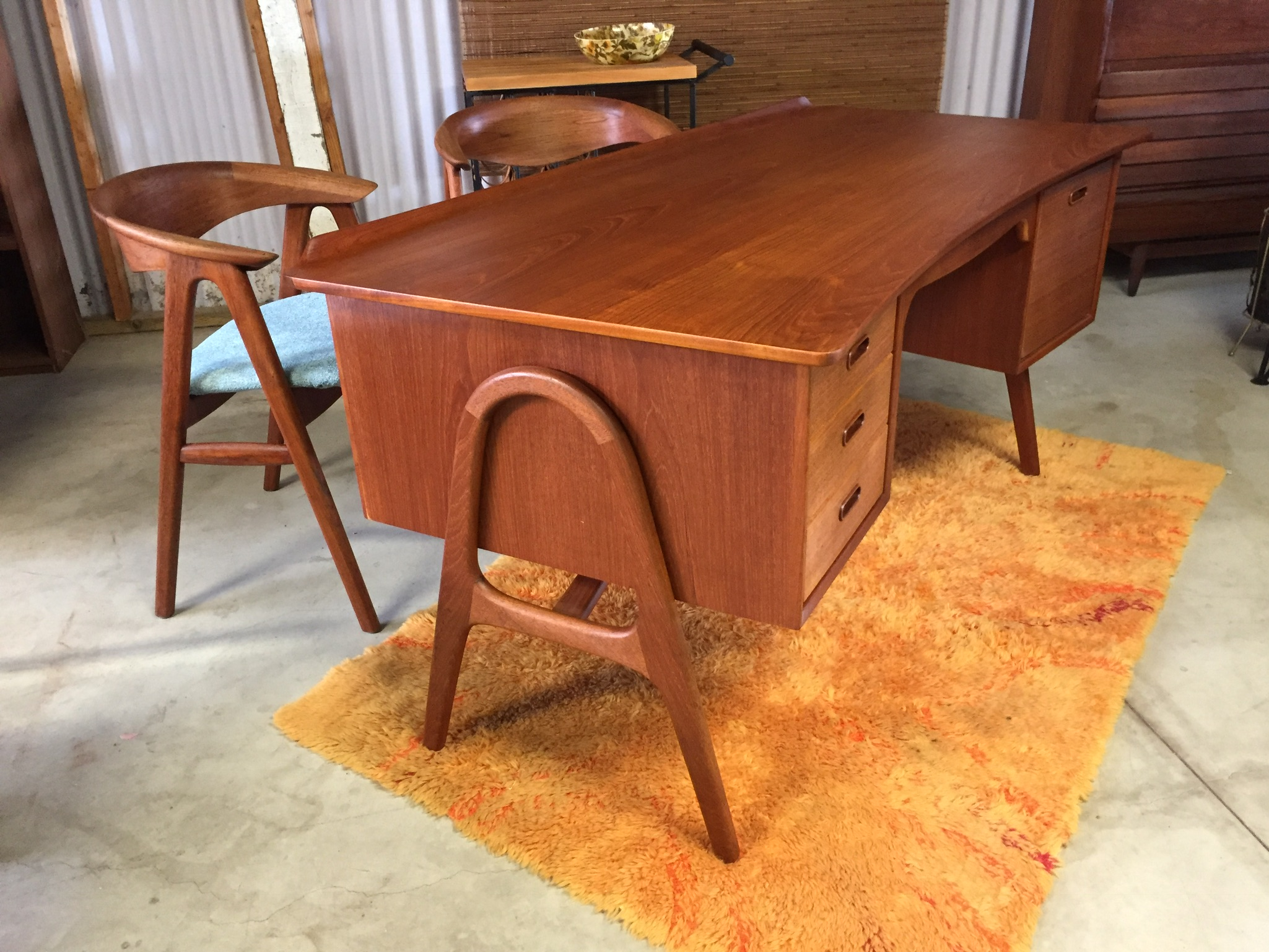 Svend Madsen Danish Teak Executive Desk Modern Flamingo