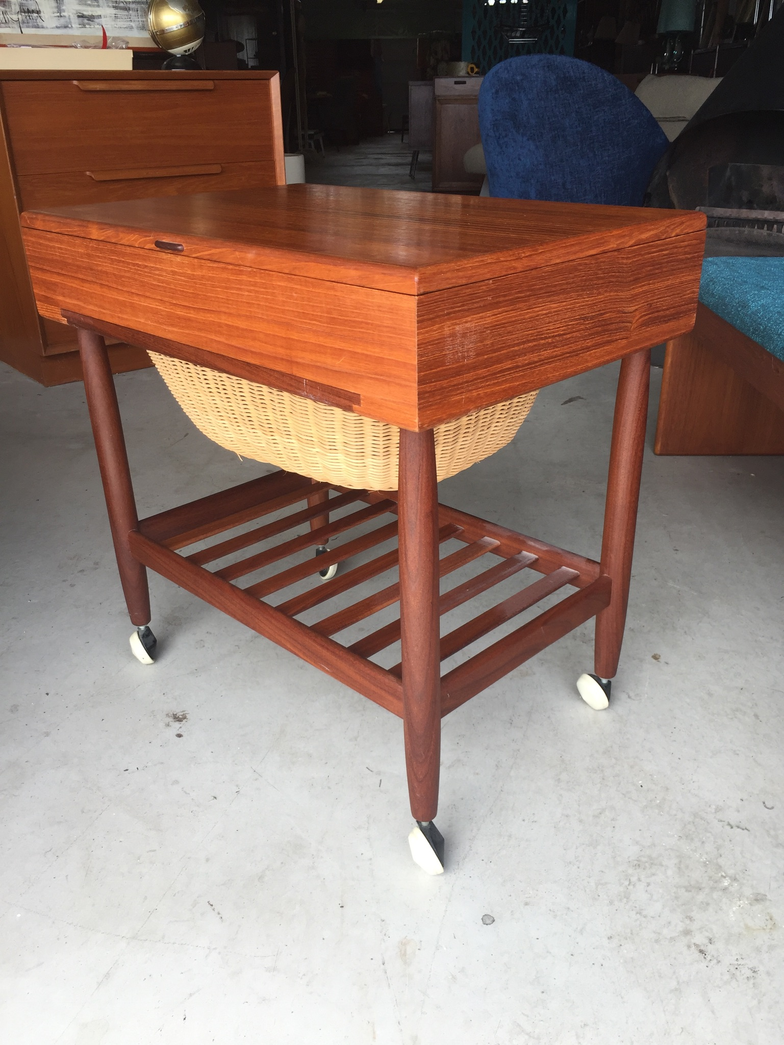 Ejvind A Johansson Teak Sewing Table Modern Flamingo