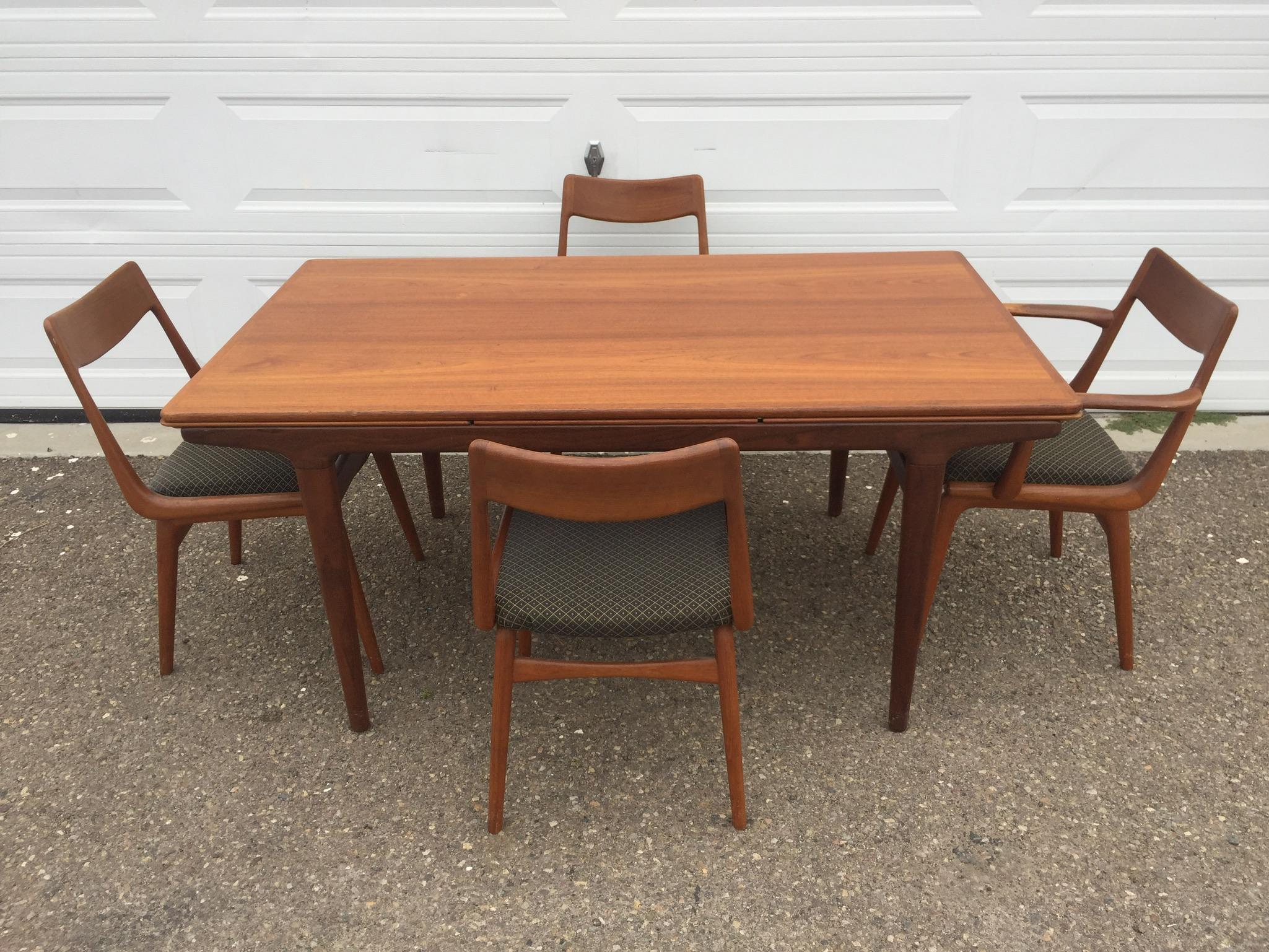 Johannes Andersen Teak Draw Leaf Dining Table
