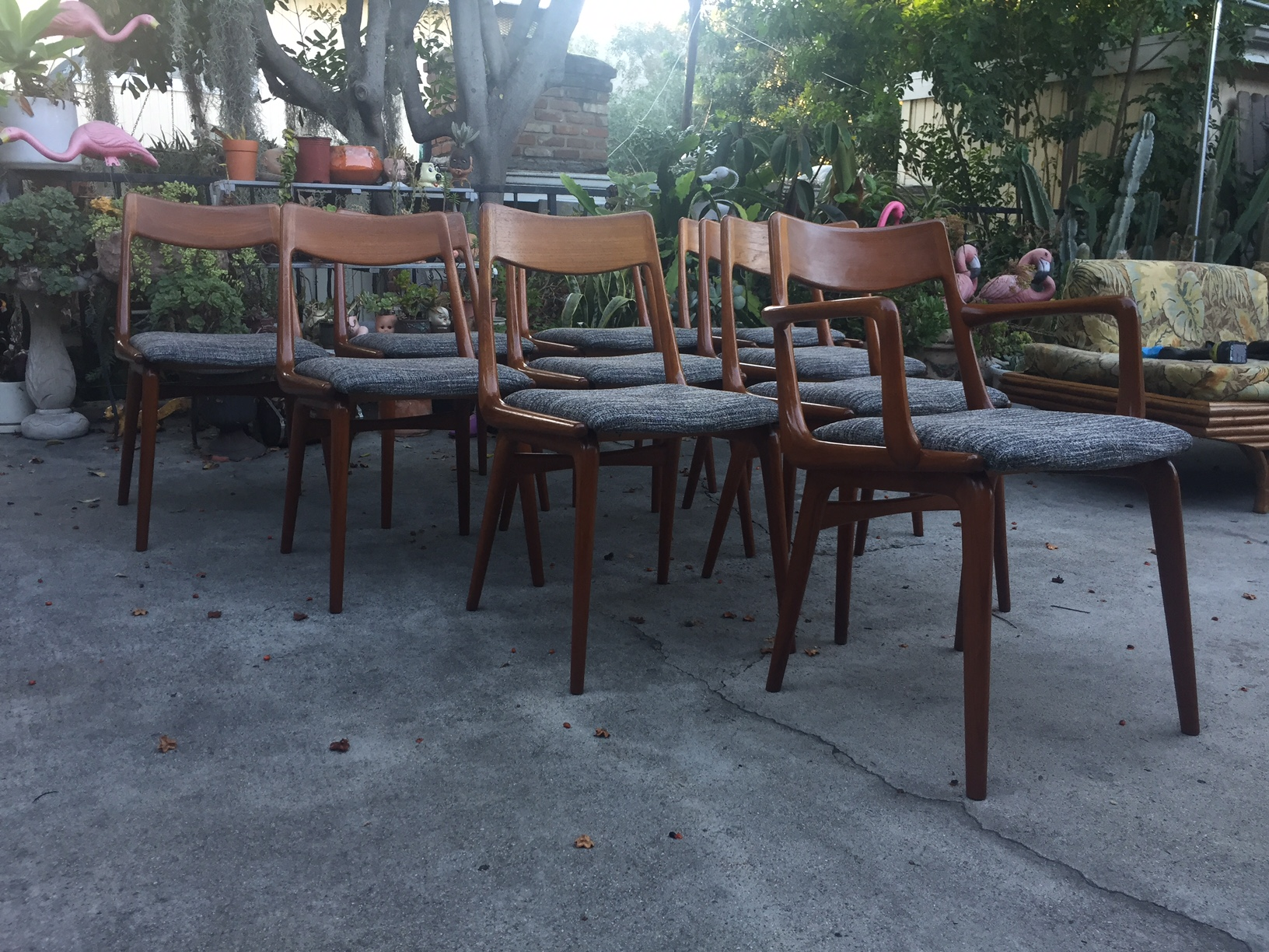Boomerang Teak Dining Chairs Modern Flamingo